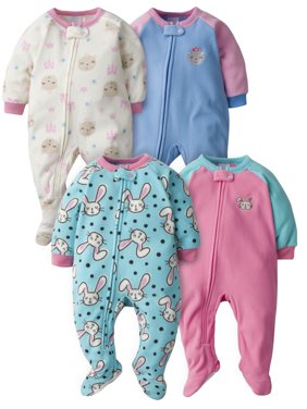 Gerber Baby Toddler Girl Microfleece Blanket Sleepers Pajamas, 4-Pack