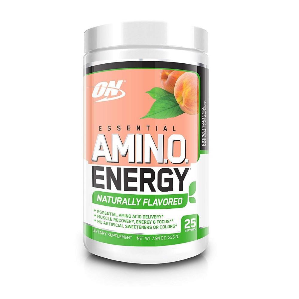Optimum Nutrition Amino Energy Naturally Flavored Pre Workout + Essential Amino Acids, Peach Tea, 25 Servings