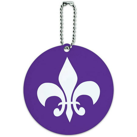 Fleur de Lis Purple Round Luggage ID Tag Card for Suitcase or Carry-On