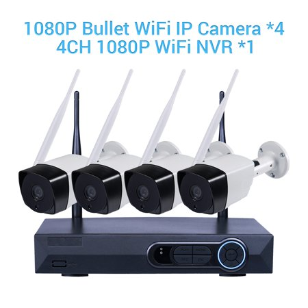 Masione Full Hd 1080P 4Ch Nvr Kits Wireless Network Home Security Camera System Video Recorder 4Pcs 2 0 Megapixel Indoor Outdoor Wifi Bullet Ip Surveillance Camera