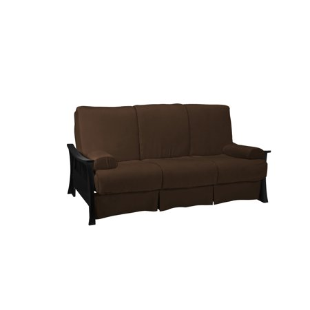 Silk Route Perfect Sit & Sleep Pocketed Coil Inner Spring Pillow Top Sofa Sleeper Bed,Queen-size,Black Finish, Suede Chocolate Brown ()