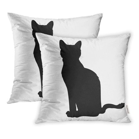 USART Shadow Black Sit Cat Silhouette Graphic Halloween Activity Animal Clip Domestic Pillowcase Cushion Cover 18x18 inch, Set of 2