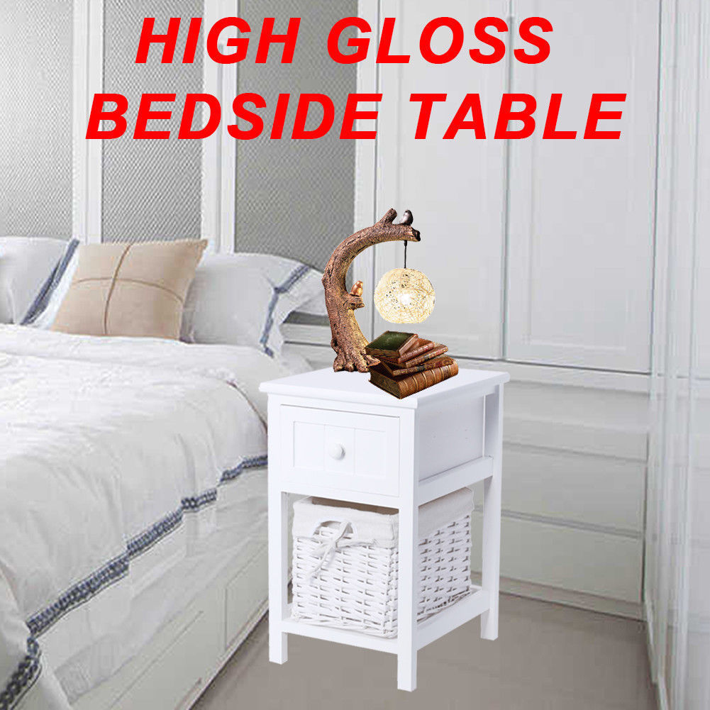 Bedside Tables Drawers Lamp Chest Table Unit Cabinet With Drawer Basket Storage