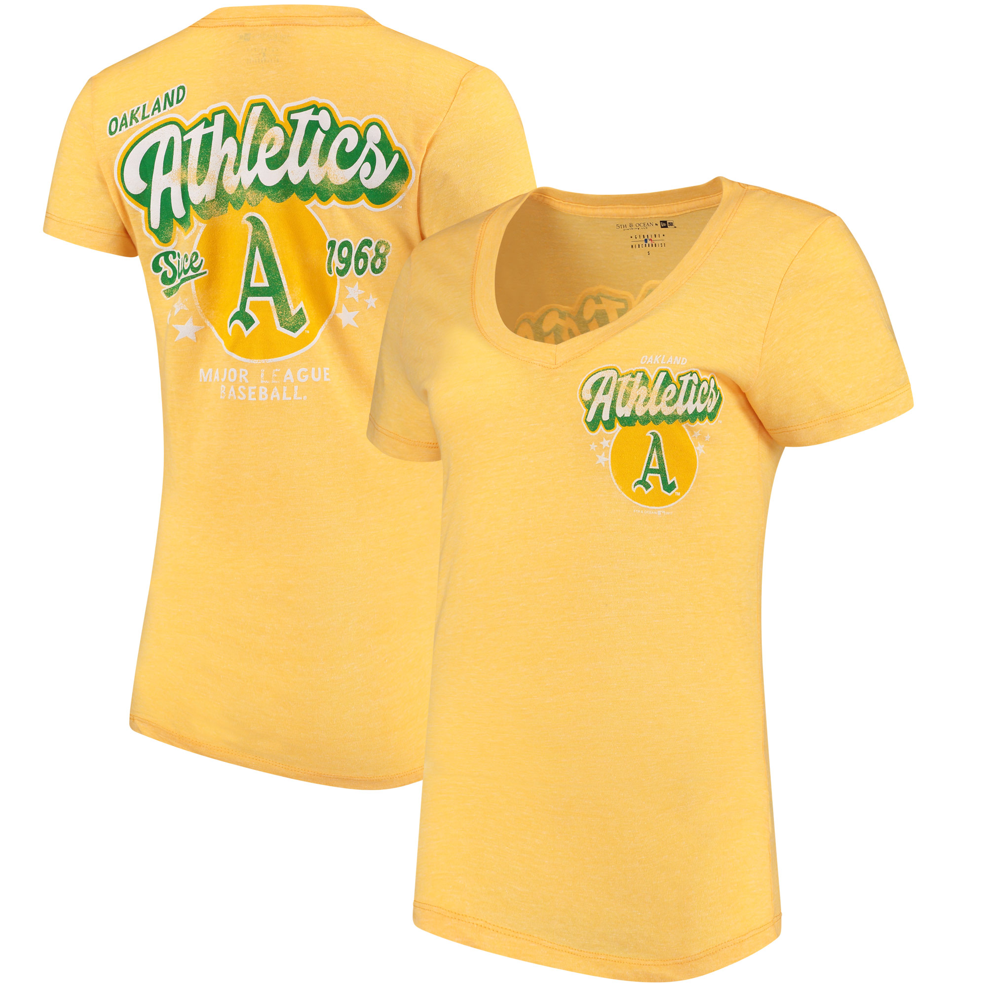 Oakland Athletics 5th & Ocean by New Era Women's Cooperstown Collection Tri-Blend V-Neck T-Shirt - Heathered Gold