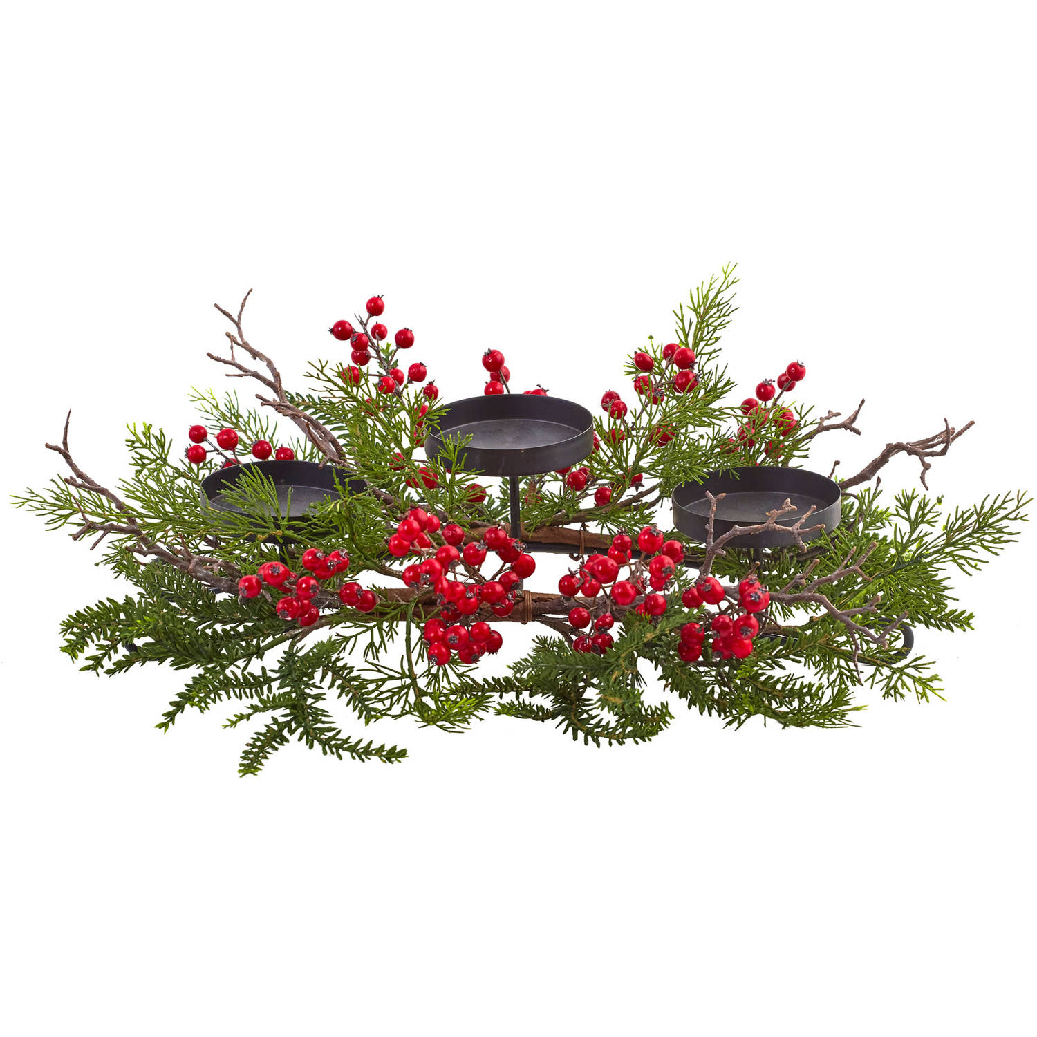 Nearly Natural Berry and Pine Triple Candelabrum