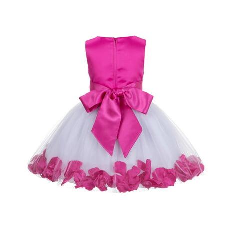 Silk Petals Baby Dresses (Ekidsbridal Rose Petals Flower Girl Dress Tulle Bridesmaid Wedding Pageant Toddler Recital Easter Holiday Communion Birthday Baptism Special Occasions Princess Formal Events Summer)