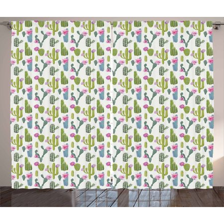 Exotic Curtains 2 Panels Set, Saguaro San Pedro Cactus Rebutia Floral Desert Wilderness Pattern, Window Drapes for Living Room Bedroom, 108W X 96L Inches, Lime Green Fuchsia Slate Blue, by -