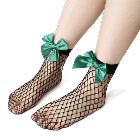 3 Pair Green Black Elastic Ankle Mesh Sock Bowknot Fishnet Stockings