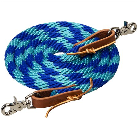 TURQUOISE 8 FT WEAVER HORSE POLY ROPING REINS W/ LEATHER LACES LOOP ENDS