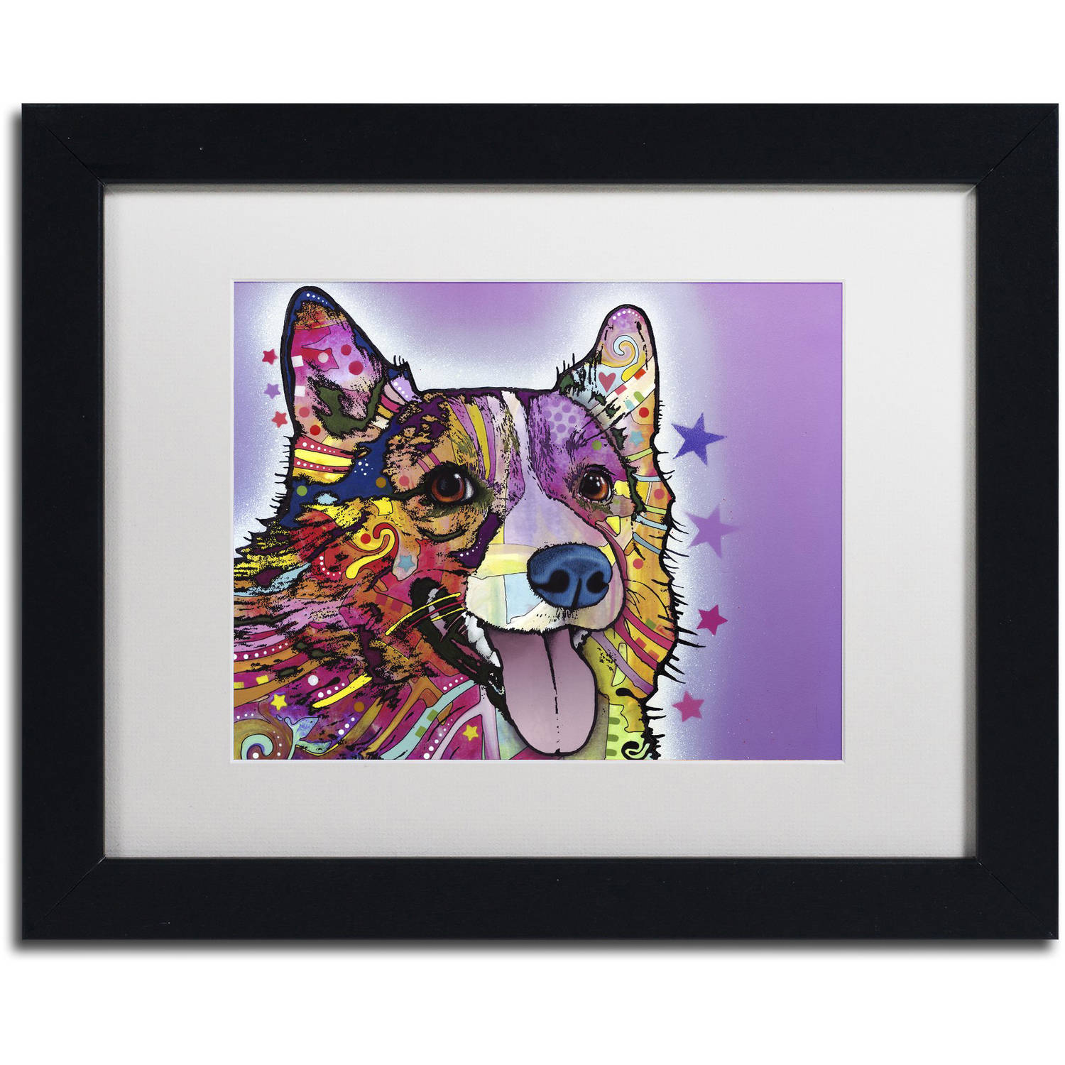 "Trademark Fine Art ""Corgi"" Canvas Art by Dean Russo, White Matte, Black Frame"