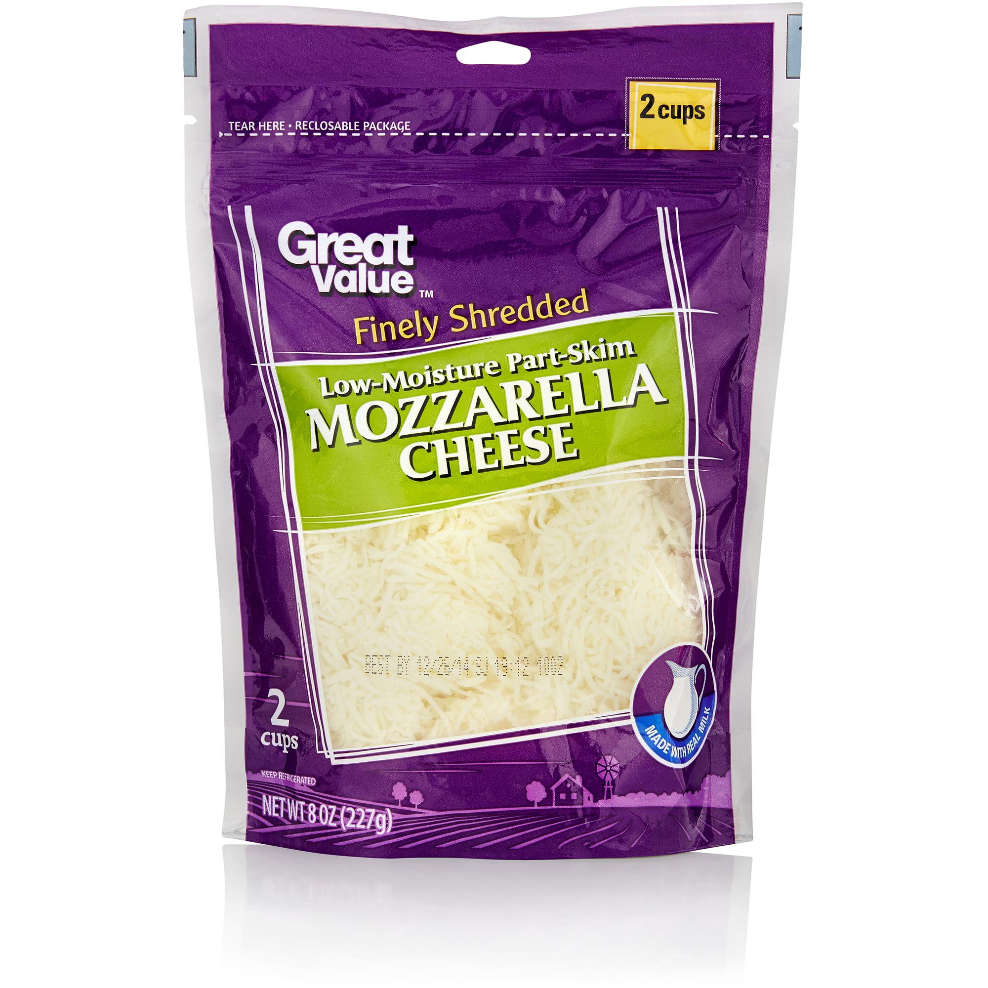 Great Value: Finely Shredded Mozzarella Cheese, 8 Oz