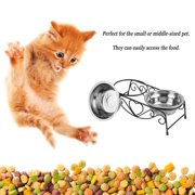 Stainless Steel Double Pet Feeding Bowls Cats Dog Water Food Feeder Dish