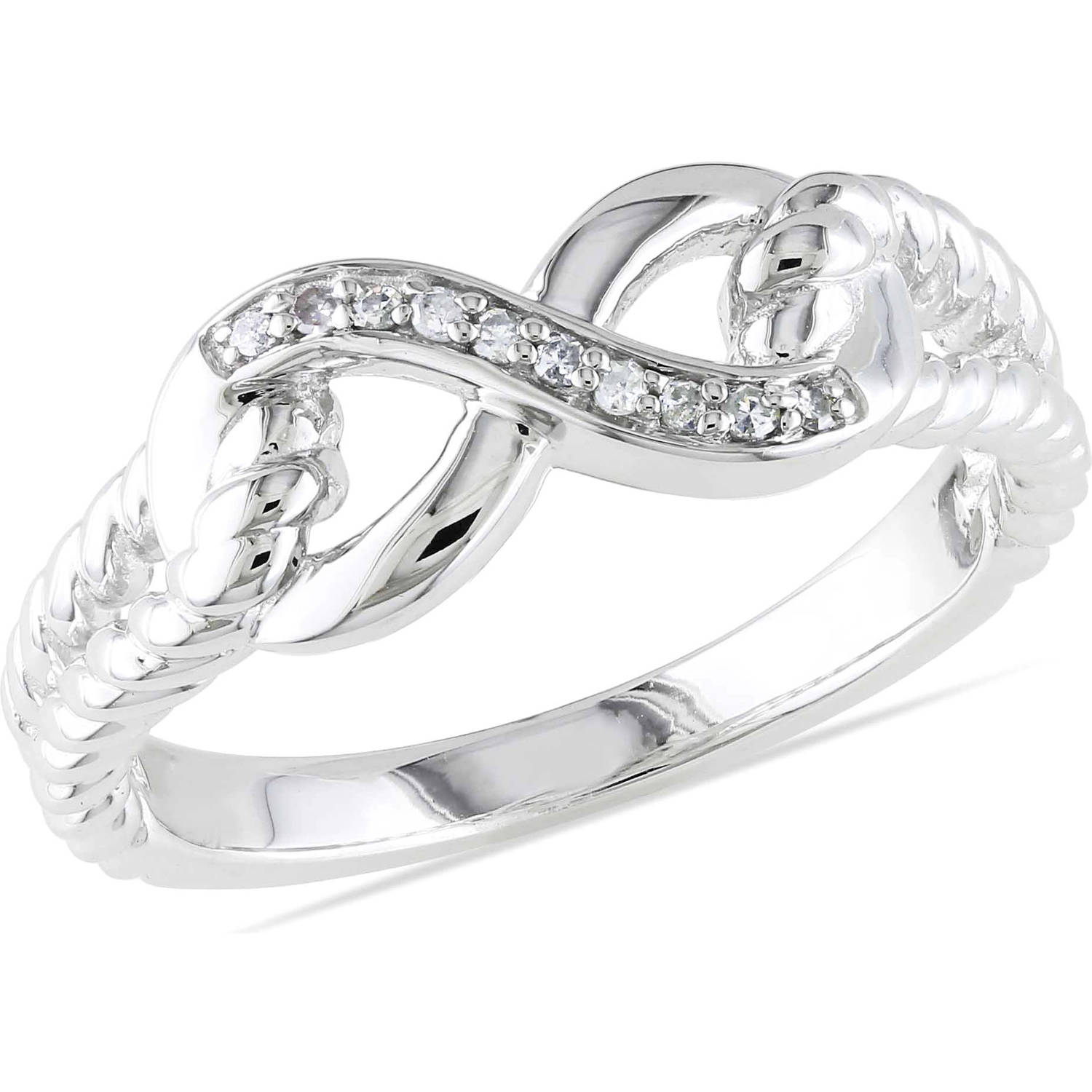 Miabella Diamond Accent Sterling Silver Infinity Ring