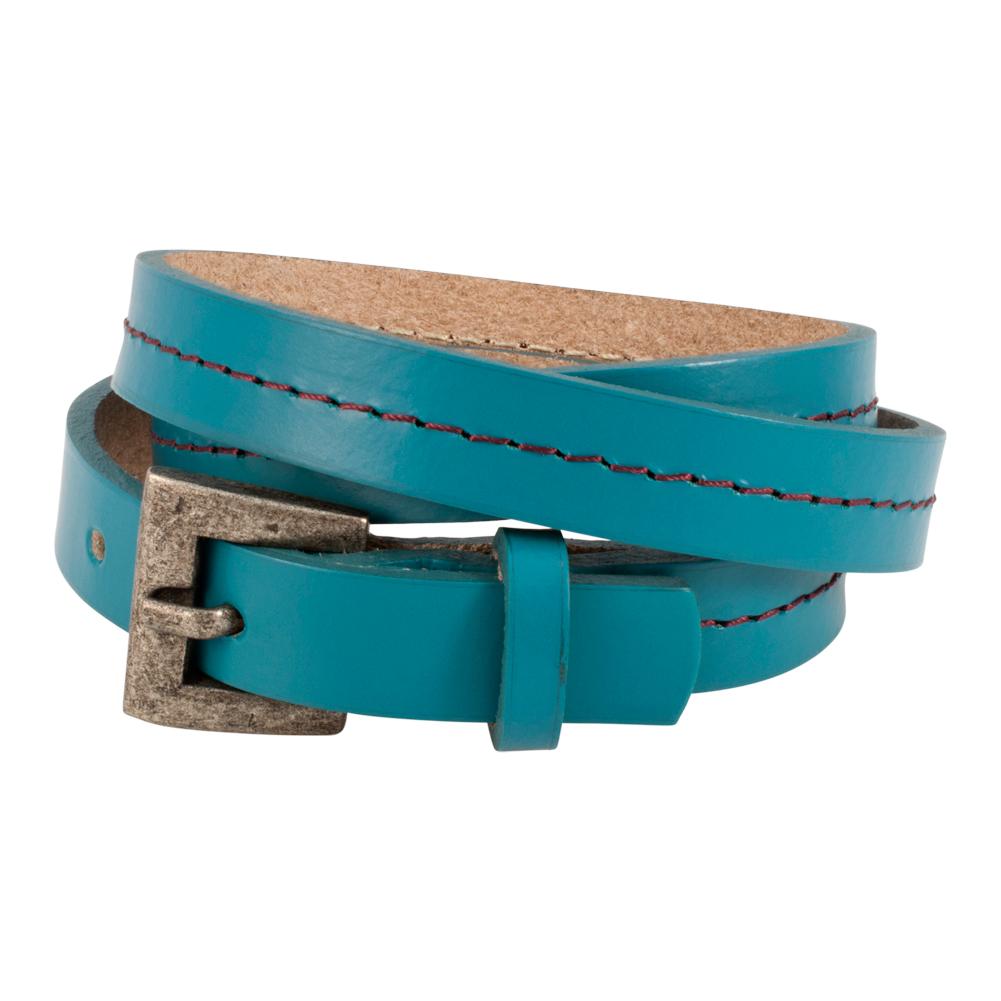 Piercing Pros Triple Wrap Thin Slit Closure Unisex Leather Bracelet, TEAL, TL1