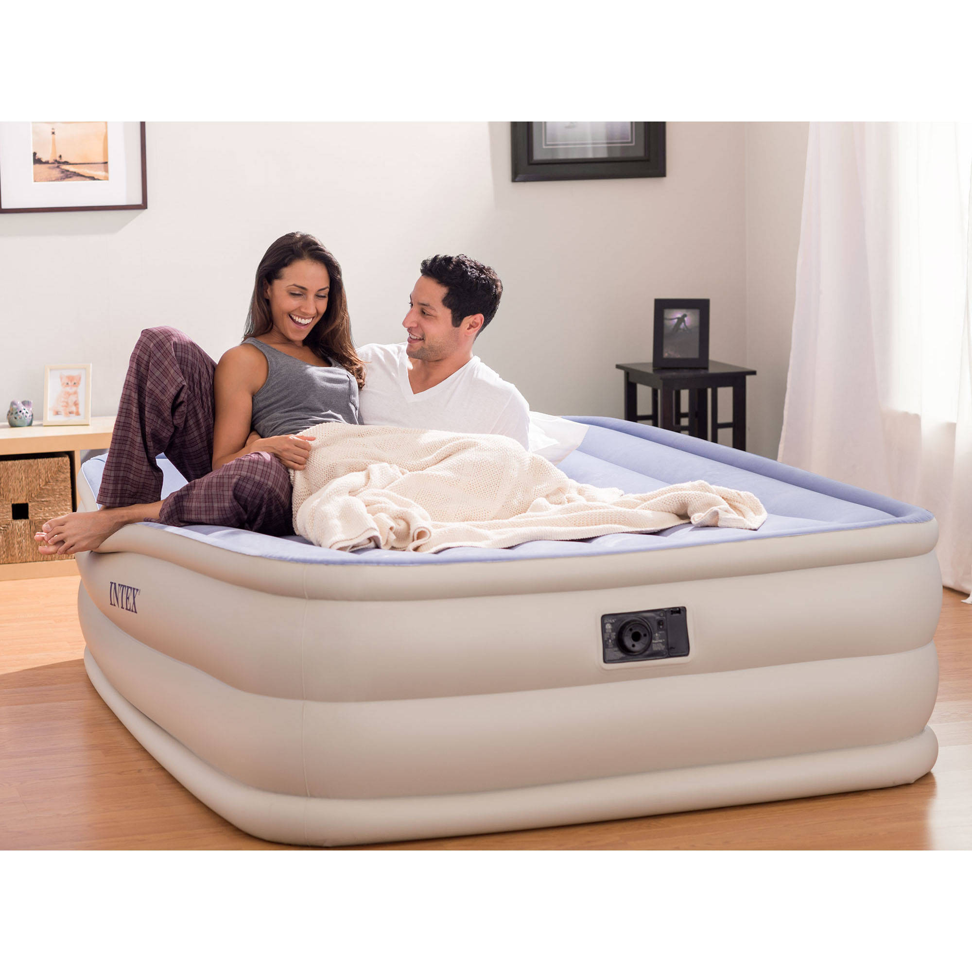 """Intex Queen 22"""" Raised Downy Airbed Mattress with Built-In Electric Pump (New Color-Blue/Tan)"""