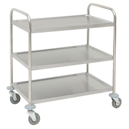"HUBERT Utility Cart With 3 Shelves Stainless Steel - 31 9/10""L x 17 9/10""W x 33 5/8""H"