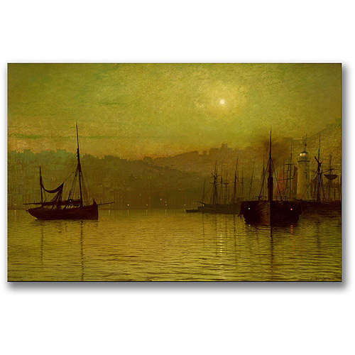 "Trademark Fine Art ""Calm Waters, Scarborough"" Canvas Wall Art by John Atkinson Grimshaw"