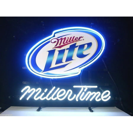 "Desung Brand New Miller Time Miller Lite Neon Sign Handcrafted Real Glass Beer Bar Pub Man Cave Sports Neon Light 17""x 13"" WM43"