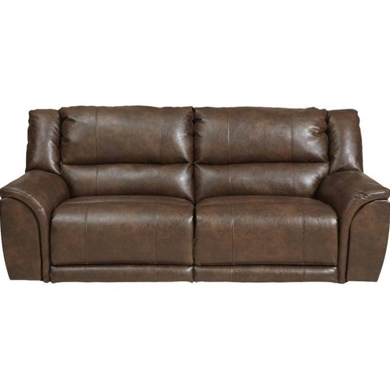 Catnapper Carmine Lay Flat Reclining Leather Sofa In