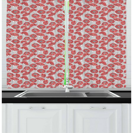 Floral Curtains 2 Panels Set, Graphic of Bent Poppy Petals on Monochrome Polka Dot Style Background, Window Drapes for Living Room Bedroom, 55W X 39L Inches, Dark Coral Grey White, by Ambesonne