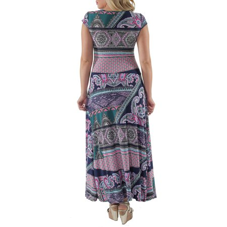 24/7 comfort Apparel Women's Abstract Paisley Maxi Dress