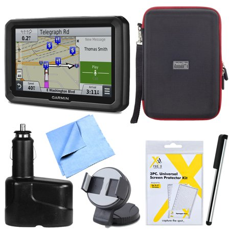 Garmin Dezl 770Lmthd 7  Gps Navigation With Lifetime Map Traffic Updates Mount Bundle   Includes 7  Gps Navigation System  Hardshell Case  Stylus Pen With Pocket Clip  Car Charger And More