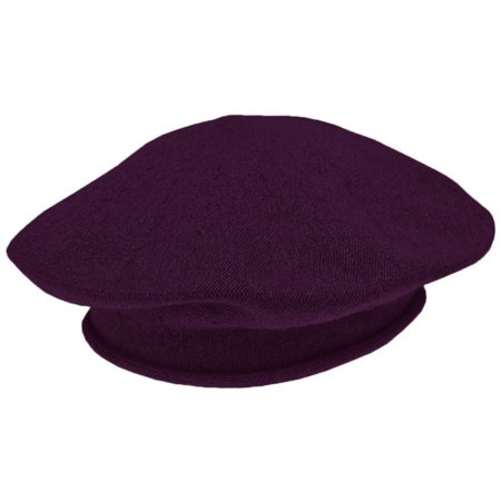 Green Womens Beret - Cotton Beret - 10.5 inch Diameter - ONE SIZE FITS MOST - Dark Purple