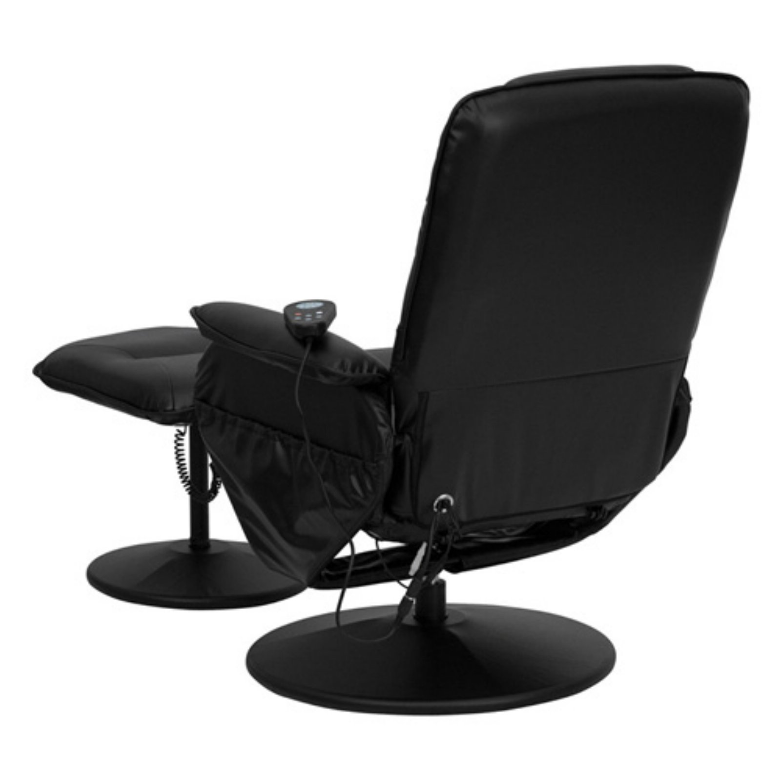 Flash Furniture Massaging Black Leather Recliner and Ottoman with