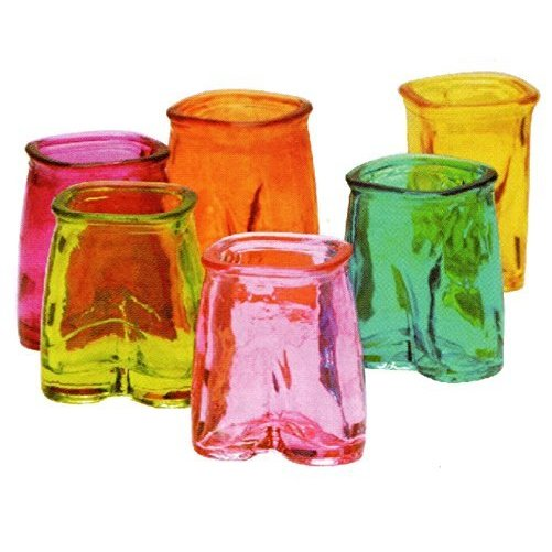 Glass Shot Glasses Set, Fun Multi Color Pants Shaped, Set of 6, 1.5 Ounce Each, By Circleware, Limited Edition Glassware