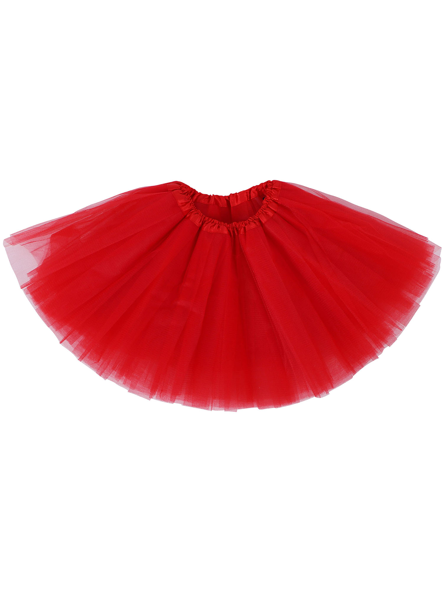 Girl Cute Tulle Dance Tutu Skirt for Dress Up & Fairy Costumes,Red