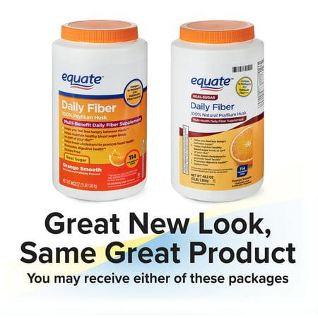 Equate Daily Fiber Orange Smooth Fiber Powder, 48.2 oz Fiber Plus Powder Apple