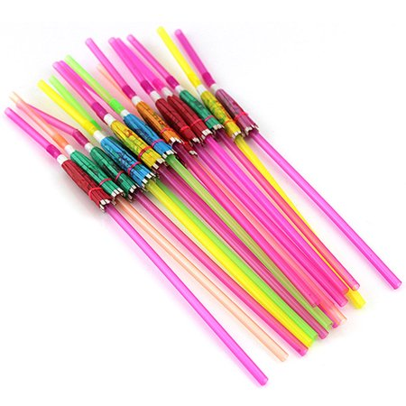 20pcs Umbrella Disposable Bendable Colorful Drinking Straws for Luau Parties Bars Restaurants - Food For Luau