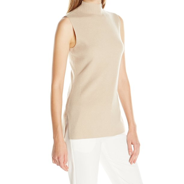 Calvin Klein NEW Beige Womens Size Large L Ribbed Mock Neck Sweater
