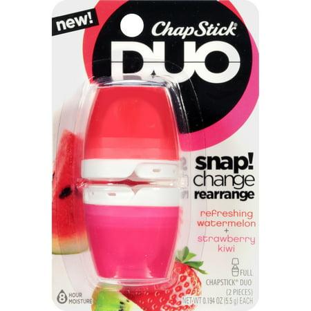 (3 pack) ChapStick Duo Lip Balm, Refreshing Watermelon Strawberry -
