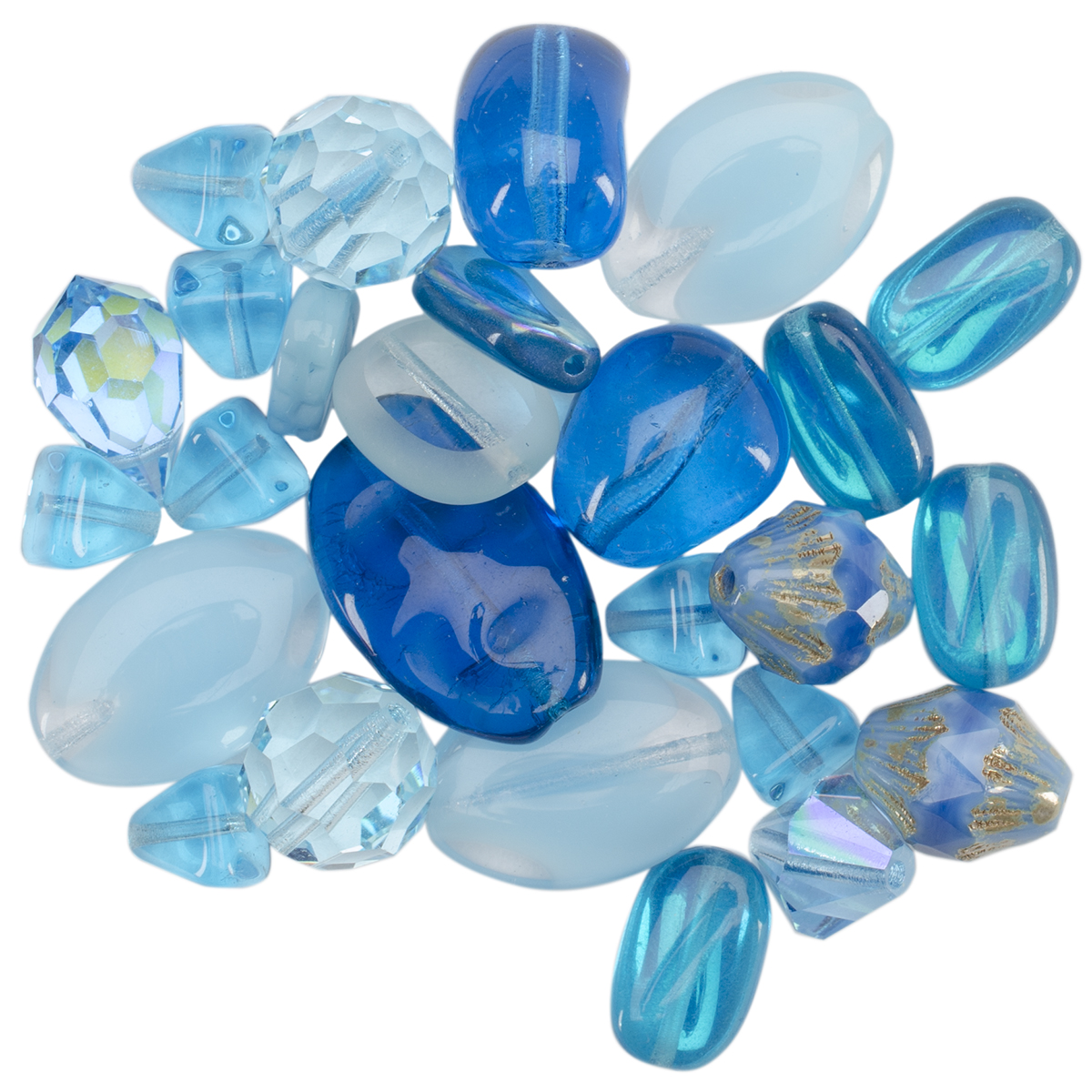 Square Tube Glass Beads 2oz-Sweep Sky Blue Mix
