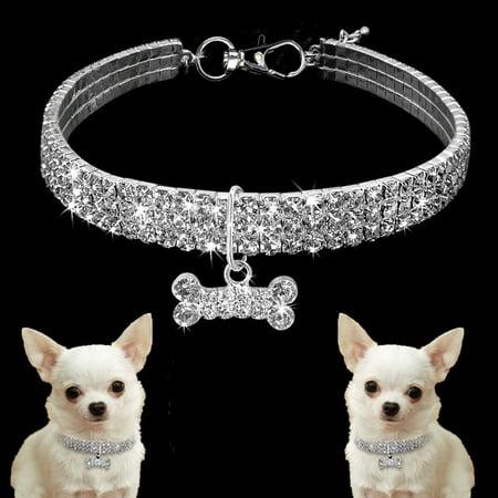Cute Mini Pet Dog Bling Rhinestone Chocker Collars Fancy Dog Necklace