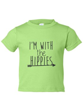 """Kids Bohemian Youth """"I'm With The Hippies"""" Toddler Boho Shirt Funny Threadz Kids 24 Month, Green"""