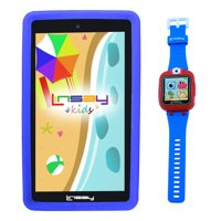 "LINSAY 7"" Kids Tablet 2 GB RAM 16 GB Android 9.0 Funny Tablet Blue Kids Smart Watch Cam Selfie - Blue"