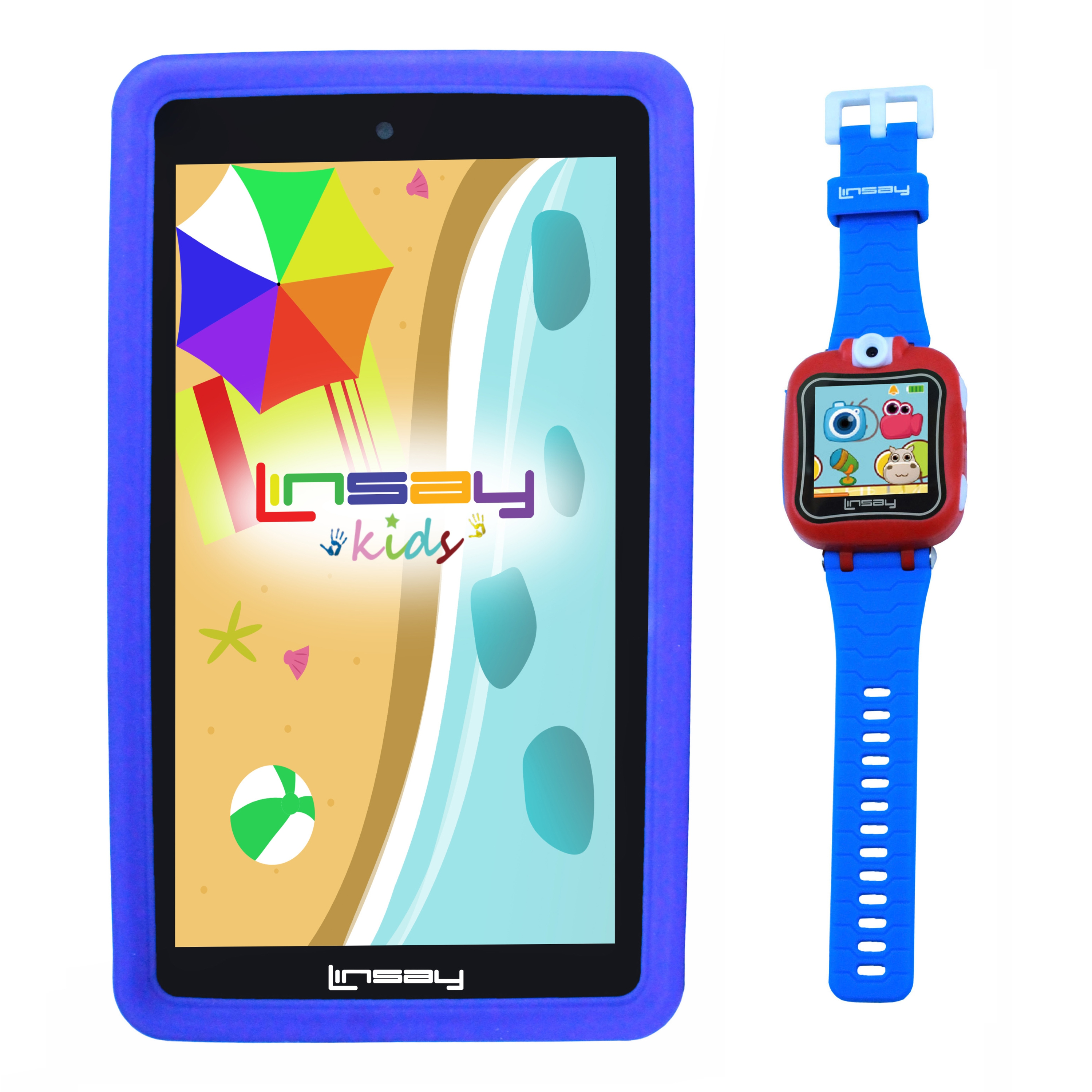 "LINSAY 7"" 1024x600 HD Screen Kids Tablet 8GB with Smart Watch Android 6.0 Operating System"