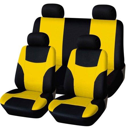 Peachy Abn Car Seat Covers Black Yellow 8Pc Universal Fit Cloth Fits Car Truck Suvs Lamtechconsult Wood Chair Design Ideas Lamtechconsultcom