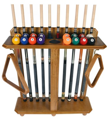 Cue Rack Only- 10 Pool Billiard Stick And Ball Set Floor Stand Oak Finish by