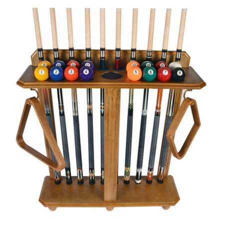 Cue Rack Only- 10 Pool - Billiard Stick And Ball Set Floor - Stand Oak Finish