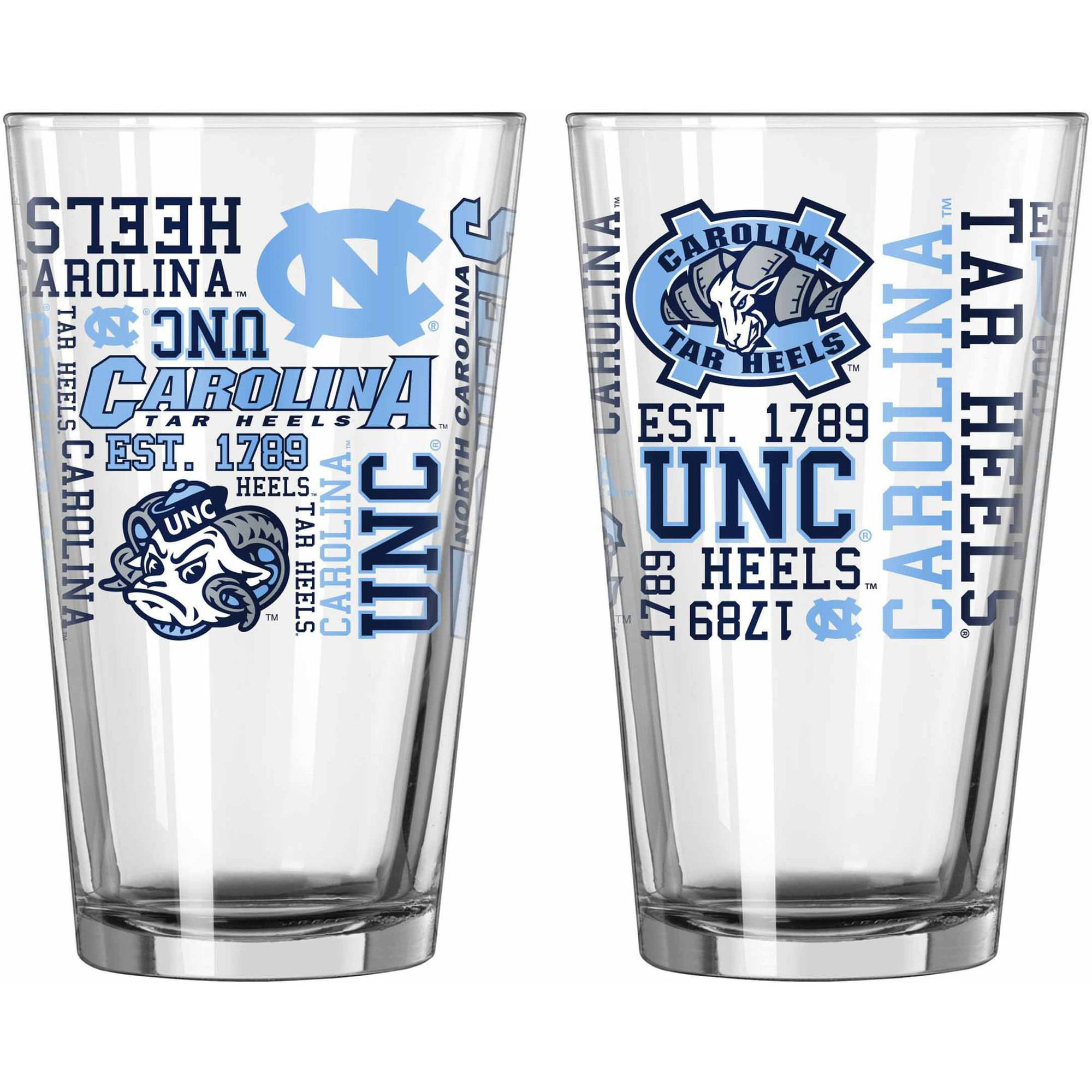 Boelter Brands NCAA Set of Two 16 Ounce Spirit Pint Glass Set, University of North Carolina Tar Heels