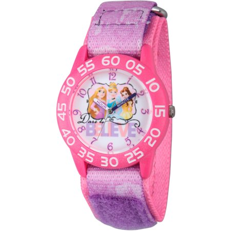 Disney Princess Cinderella  Rapunzel And Belle Girls Pink Plastic Time Teacher Watch  Purple Stretchy Nylon Strap With Pink Backing