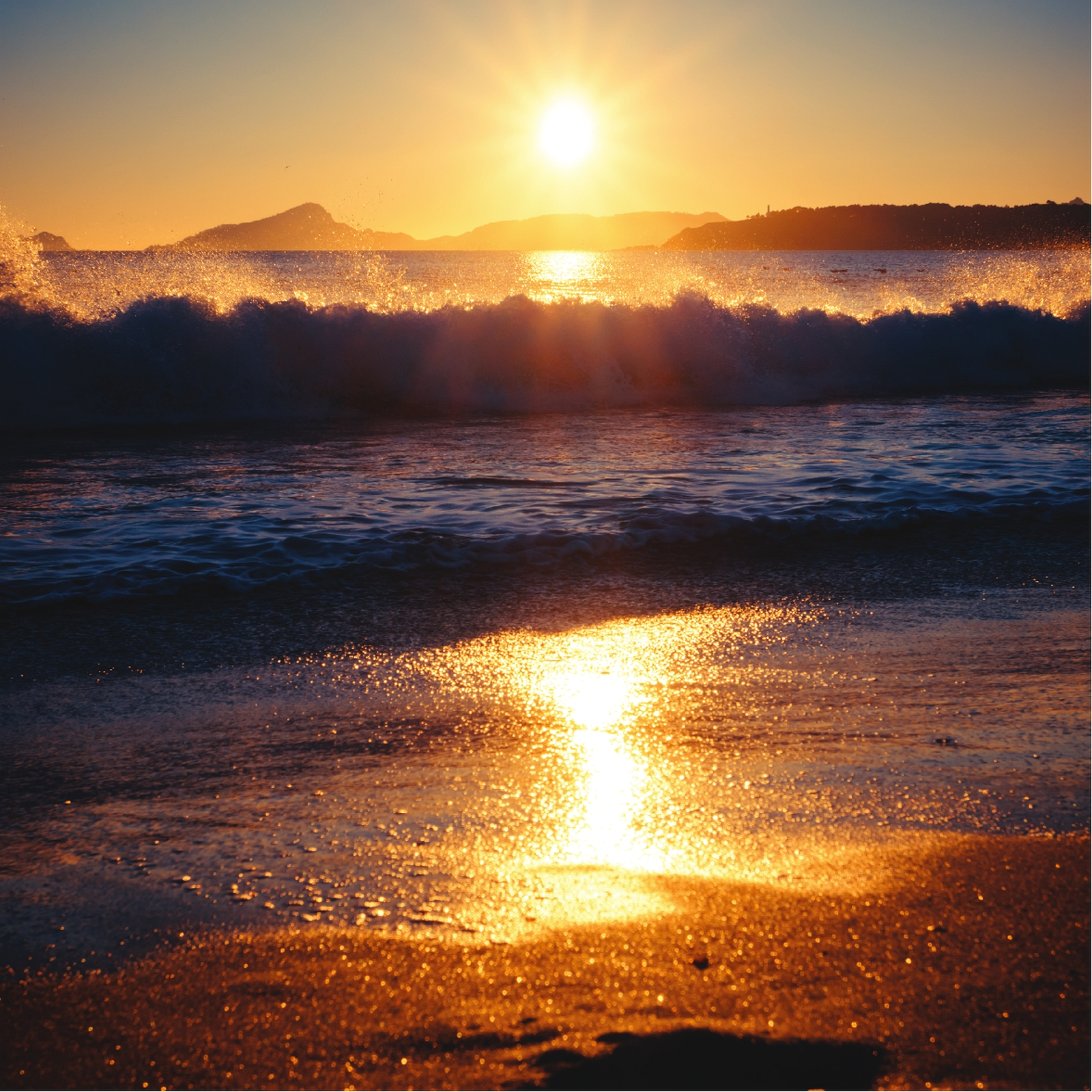 Golden Sunset Over Beach Home Office Wall Artwork Decoration Posters, Square Signs