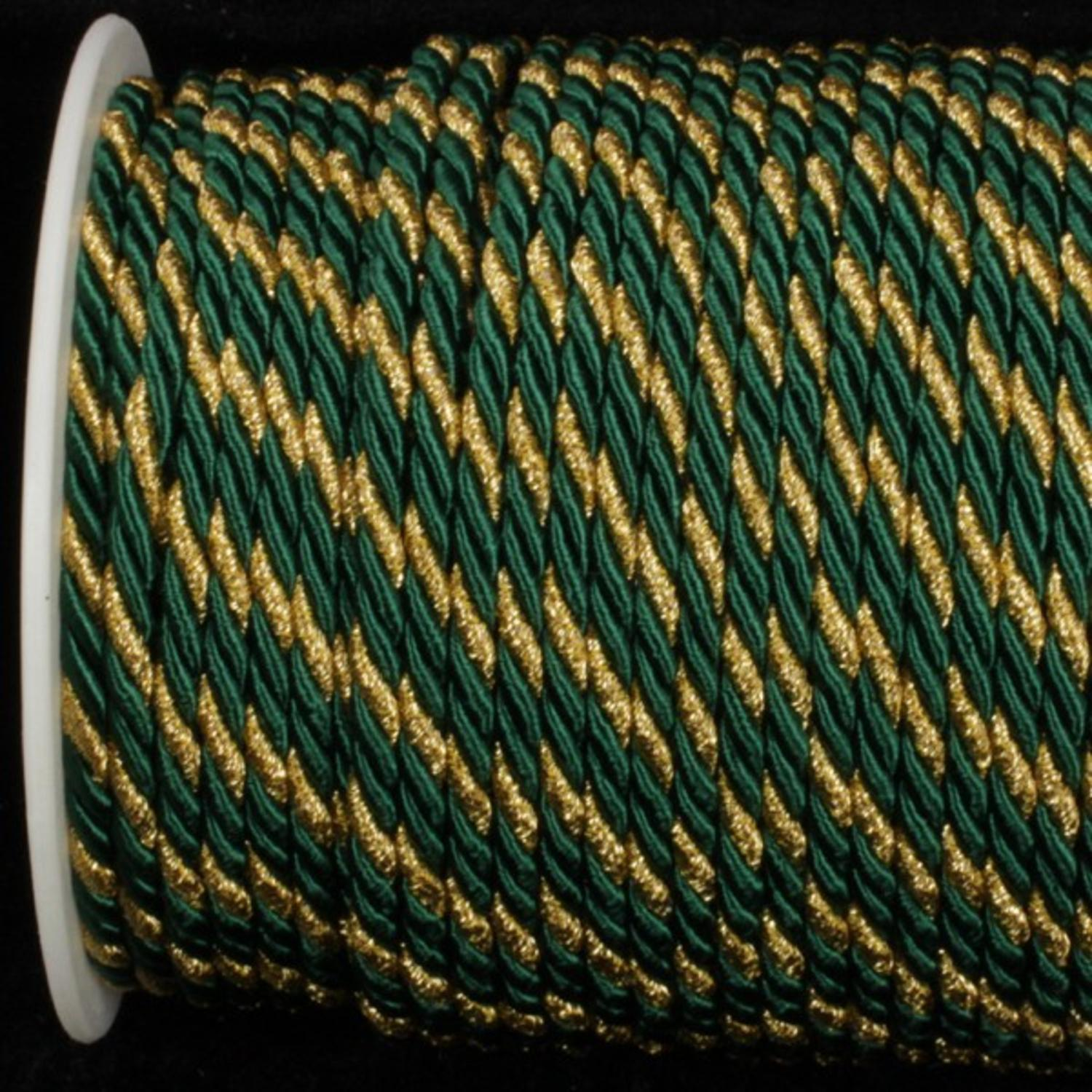 Hunter Green with Gold Braided Cording 4.8mm x 55 Yards