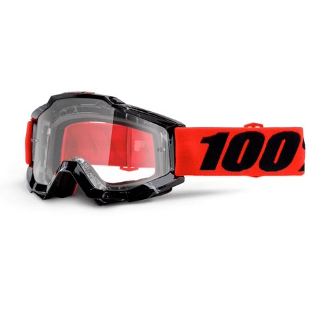 100% Accuri Clear Lens Youth MX Goggles Inferno/Black/Red