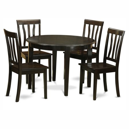 East West Furniture Boston 5 Piece Round Dining Table Set with Antique  Wooden Seat Chairs - East West Furniture Boston 5 Piece Round Dining Table Set With