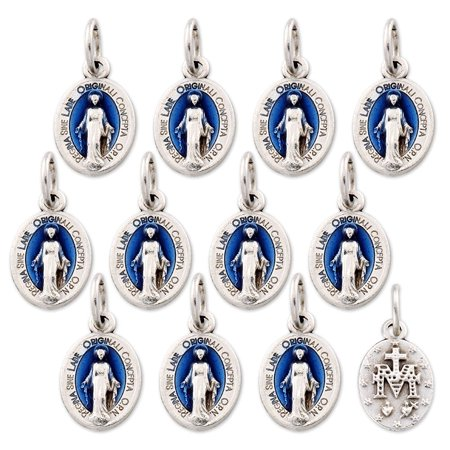 - Lot of 12 - Silver Tone Our Lady of Grace Mini Miraculous Medal Pendant
