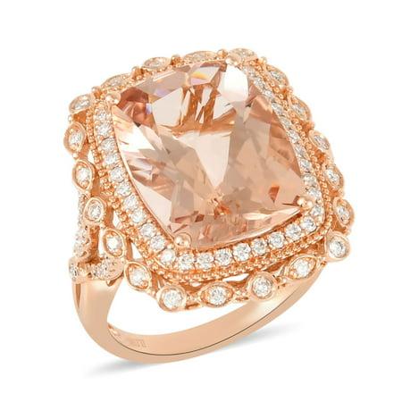 ILIANA 18K Rose Gold AAA Premium Morganite Diamond Bridal Anniversary Wedding Ring Women Jewelry Ct 8 G-H Color SI1